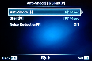 Configuration Menu for Anti-Shock and Silent Shutter