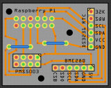 The PCB view in Fritzing