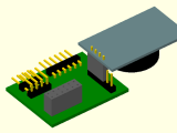 The PCB with the RTC module, OpenSCAD 3D view