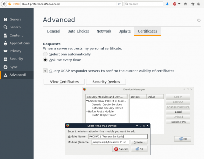 Installazione del Security Device in Firefox