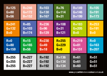 RGB 8bit Values from GWBCC User Manual
